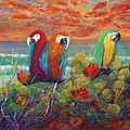 Parrots On Sunset Beach by Ken Figurski