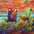 Parrots On The Beach Painterly by Ken Figurski
