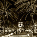 Pasadena City Hall After Dark In Sepia Tone by Randall Nyhof