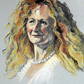Pastel Portrait Of Woman With Frizzy Hair by Greta Corens