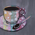 Pastel Stripes Polka Dotted Coffee Cup by Robin Maria Pedrero