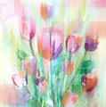 Pastel Tulips Collage by Arline Wagner