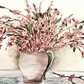 Pastels In Clay Pot by Karen Green Jung