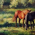 Pasture At Whites Crossing      Horse Painting by Kim Corpany