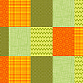 Patchwork Patterns - Orange And Olive by Shawna Rowe