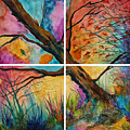 Patchwork Sky Tree Painting With Colorful Sky by Jaime Haney