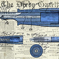Patent, Old Pen Patent,blue Art Drawing On Vintage Newspaper by Drawspots Illustrations