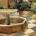 Patio Fountain In Seville by Mountain Dreams