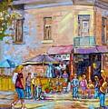 Patio Umbrellas Cafe Bistro Barros Paris Style Colorful Streetscene Painting Montreal 375  by Carole Spandau