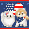 Patriotic Pomeranians by Catia Lee