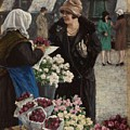 Paul Fischer, 1860-1934, Flower Market In Copenhagen by Paul Fischer