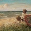 Paul Fischer, 1860-1934, Girls On The Beach by Paul Fischer