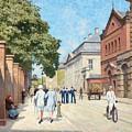 Paul Fischer, Sunny Street Scene, Bredgade, Copenhagen. by Paul Fischer