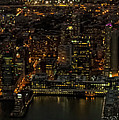 Paulus Hook, Jersey City Aerial Night View by David Oppenheimer