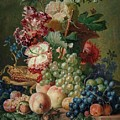 Paulus Theodorus Van Brussel - Still Life Of Flowers And Fruit On A Stone Ledge, by Artistic Paulus Theodorus van Brussel