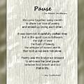 Pause Poem by Joy Underhill
