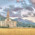 Payson Utah Lds Temple, Sunset View Of The Mountains And Grass by Kelli Marrott