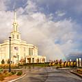 Payson Utah Temple Rainbow by Tausha Coates