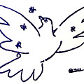 Peace Dove Serigraph In Blue As A Tribute To Pablo Picasso's Lithograph Of Love Bird With Flowers by M Zimmerman
