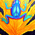 Peace Frog On Fall Leaf by Nick Gustafson