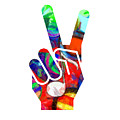 Peace Hippy Paint Hand Sign by Edward Fielding