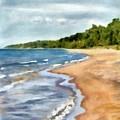 Peaceful Beach At Pier Cove Ll by Michelle Calkins