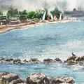 Peaceful Morning At The Harbor  by Irina Sztukowski