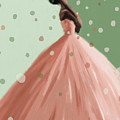 Peach and Mint Green Fashion Art by Beverly Brown Prints