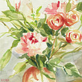 Peach And Yellow Carnations And Roses by Beverly Brown