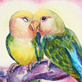 Peach-faced Lovebirds by Janet Zeh
