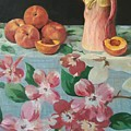 Peaches On Floral Tablecloth by Robert Holden