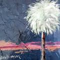 Peachy Horizons Palm Tree by Kristen Abrahamson