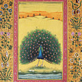Peacock Dancing Painting Flower Bird Tree Forest Indian Miniature Painting Watercolor Artwork by Bhanu Sharma