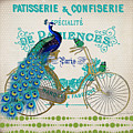 Peacock On Bicycle-jp3608 by Jean Plout