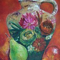Pear Paintings - French Jug With Pears by Virgilla Lammons