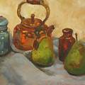 Pears With Copper Kettle by Nora Sallows