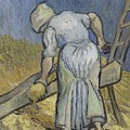 Peasant Woman Bruising Flax After Millet Saint Remy De Provence September 1889 Vincent Van Gogh  by Artistic Panda