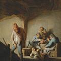 Peasants In The Interior Of An Inn by Adriaen van Ostade