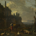 Peasants With Cattle By A Ruin by PixBreak Art