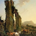 Peasants With Cattle By A Ruined Aqueduct by Nicolaes Pietersz Berchem