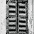 Peeling Shutters Black And White by Jacqueline Moore