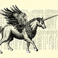 Pegasus Black And White by Madame Memento