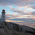 Peggys Cove Lighthouse At Dusk by Andre Distel
