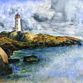 Peggy's Cove Lighthouse Landscape by John D Benson