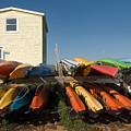 Pei Kayaks Building And Sky by Steve Somerville