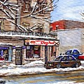 Peintures Petits Formats A Vendre Montreal Original Art For Sale Restaurant Chez Paul The Pointe Psc by Carole Spandau