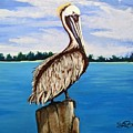 Pelican On Post 2 by Stephen Broussard