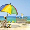 Pelican Under Umbrella by Anne Beverley-Stamps