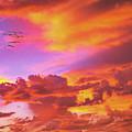 Pelicans Flying Into Sunset  by David Zanzinger