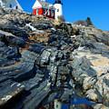 Pemaquid Point Lighthouse Reflection - Seascape Landscape Rocky Coast Maine by Jon Holiday